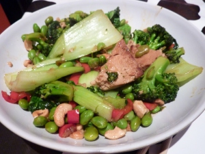 tofu, greens & cashew stir-fry
