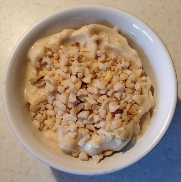 frozen banana dessert with chopped nuts